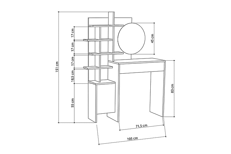 Meikkipöytä Lutchan - Huonekalut - Pöydät - Meikki- & kampauspöydät