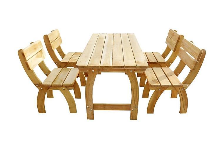 5-osainen Ulkoruokailuryhmä kyllästetty mänty - Ruskea - Huonekalut - Pöydät - Ruokapöydät & keittiön pöydät