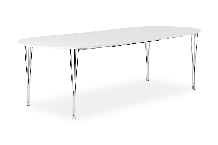 Pöytä Sterling Jatkettava 160 cm Ovaali - Valkoinen/Kromi - Huonekalut - Pöydät - Ruokapöydät & keittiön pöydät