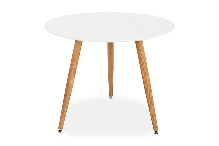 Pöytä Tommy 90 cm Pyöreä - Valkoinen/Tammi - Huonekalut - Pöydät - Ruokapöydät & keittiön pöydät
