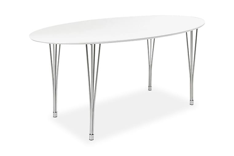 Ruokapöytä Fadia 180 cm Ovaali - Valkoinen/Kromi - Huonekalut - Pöydät - Ruokapöydät & keittiön pöydät
