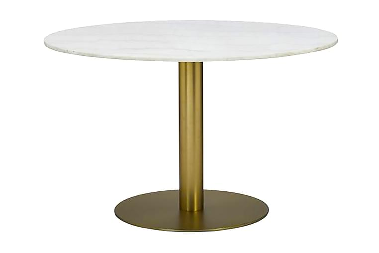 Ruokapöytä Justine 100 cm Pyöreä Marmori - Valkoinen/Messinki - Huonekalut - Pöydät - Ruokapöydät & keittiön pöydät
