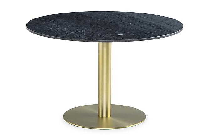 Ruokapöytä Justine 120 cm Pyöreä Marmori - Harmaa/Harj. messinki - Huonekalut - Pöydät - Ruokapöydät & keittiön pöydät