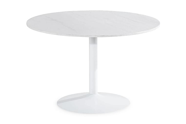 Ruokapöytä Justine 120 cm Pyöreä Marmori - Valkoinen - Huonekalut - Pöydät - Ruokapöydät & keittiön pöydät