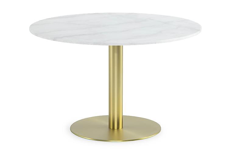 Ruokapöytä Justine 120 cm Pyöreä Marmori - Valkoinen/Harj. messinki - Huonekalut - Pöydät - Ruokapöydät & keittiön pöydät