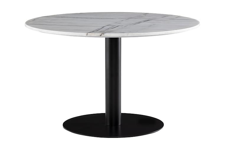 Ruokapöytä Justine 120 cm Pyöreä Marmori - Valkoinen/Musta - Huonekalut - Pöydät - Ruokapöydät & keittiön pöydät