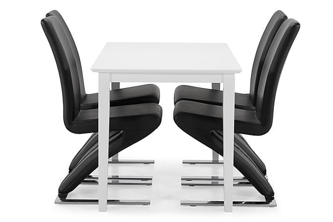 Ruokapöytä Lansing 120 cm - Valkoinen/Musta - Huonekalut - Ruokailuryhmät - Kulmikas ruokailuryhmä