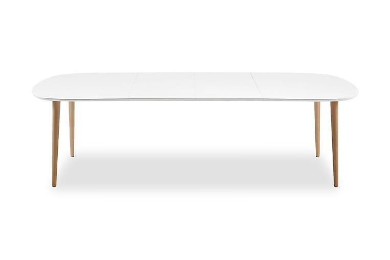 Ruokapöytä Oakland Jatkettava 160 cm Ovaali - Valkoinen - Huonekalut - Pöydät - Ruokapöydät & keittiön pöydät