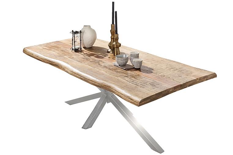 Ruokapöytä Raital 200x100 cm - Mango/Luonnonväri/Hopea - Huonekalut - Pöydät - Ruokapöydät & keittiön pöydät