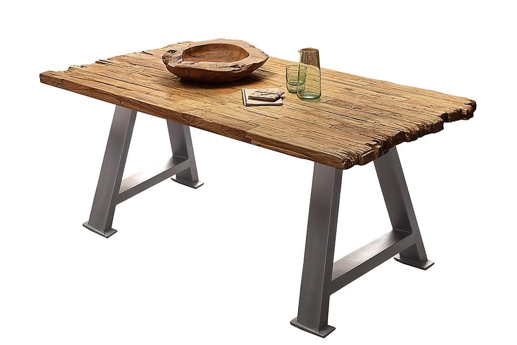 Ruokapöytä Raital 200x100 cm - Tiikki/Hopea - Huonekalut - Pöydät - Ruokapöydät & keittiön pöydät