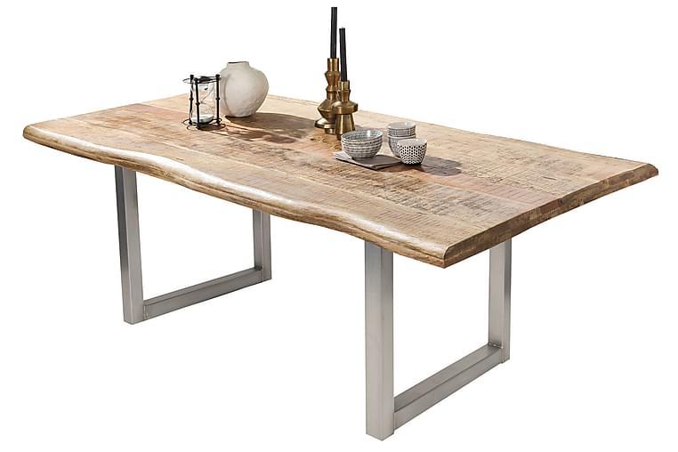 Ruokapöytä Raital 220 cm - Mango/Luonnonväri/Hopea - Huonekalut - Pöydät - Ruokapöydät & keittiön pöydät