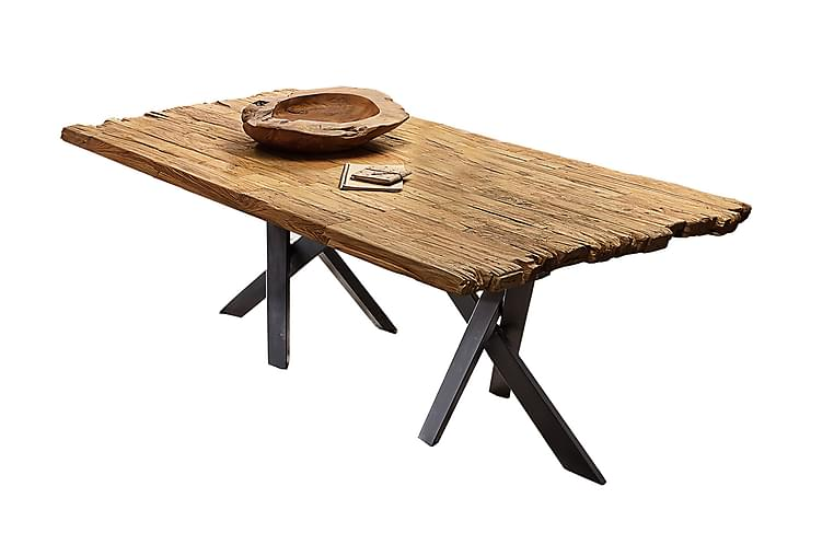 Ruokapöytä Raital 240 cm - Kierrätetty tiikki/Musta - Huonekalut - Pöydät - Ruokapöydät & keittiön pöydät