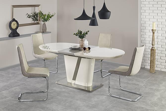Ruokapöytä Tindell Jatkettava 160 cm - Valkoinen/kromi - Huonekalut - Pöydät - Ruokapöydät & keittiön pöydät