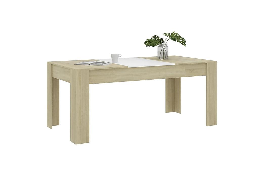 Ruokapöytä valkoinen ja Sonoma-tammi 180x90x76 cm lastulevy - Beige - Huonekalut - Pöydät - Ruokapöydät & keittiön pöydät