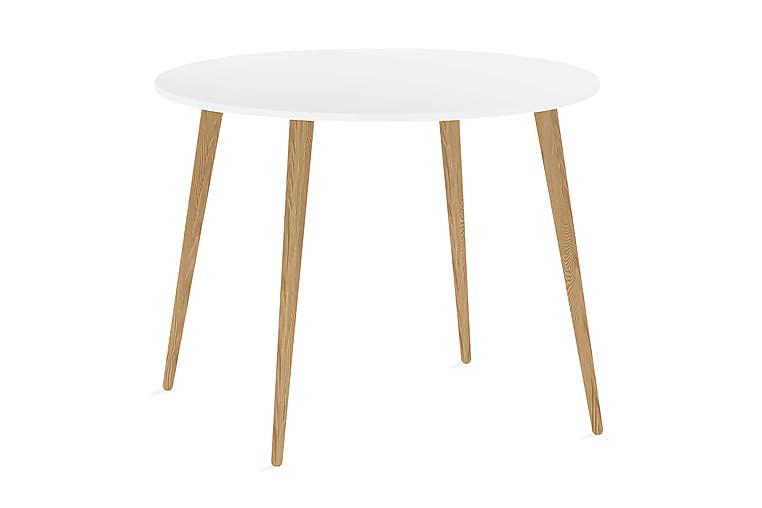 Ruokapöytä Vasiliki 100 cm Pyöreä - Valkoinen/Tammi - Huonekalut - Pöydät - Ruokapöydät & keittiön pöydät