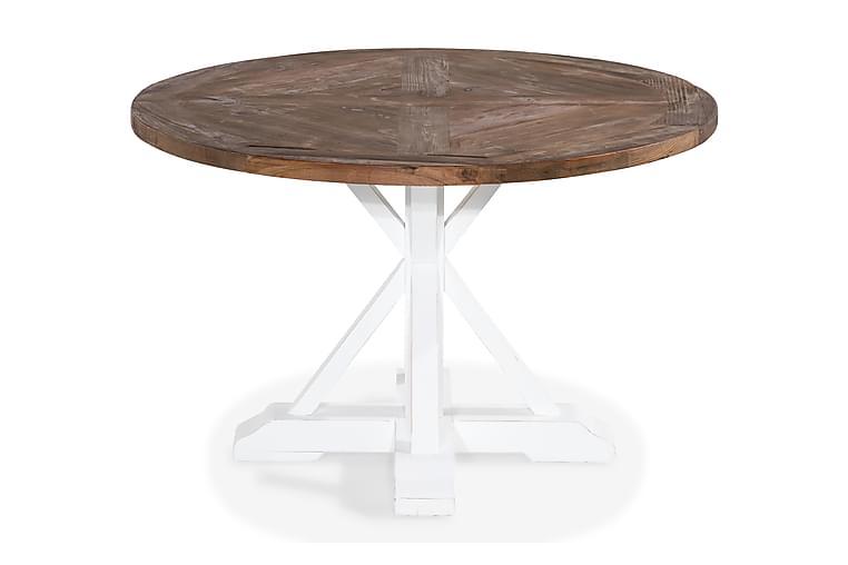 Ruokapöytä Yorkshire 120 cm Pyöreä - Luonnonväri/Valkoinen - Huonekalut - Pöydät - Ruokapöydät & keittiön pöydät