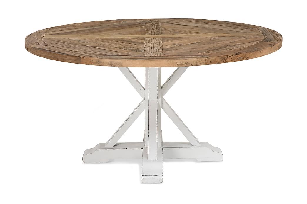 Ruokapöytä Yorkshire 150 cm Pyöreä - Vintage Luonnonväri/Valkoinen - Huonekalut - Pöydät - Ruokapöydät & keittiön pöydät
