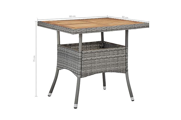 Ulkoruokapöytä harmaa polyrottinki ja akaasiapuu - Harmaa - Huonekalut - Pöydät - Ruokapöydät & keittiön pöydät