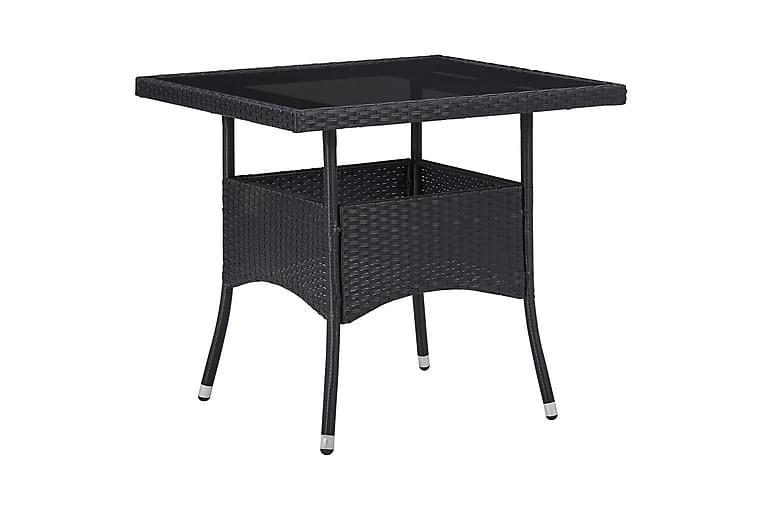 Ulkoruokapöytä musta polyrottinki ja lasi - Musta - Huonekalut - Pöydät - Ruokapöydät & keittiön pöydät