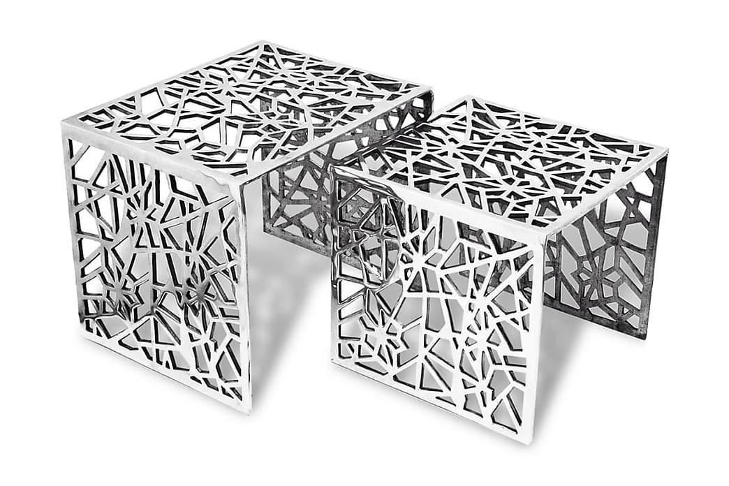 Kaksiosainen Sivupöytä Neliö Alumiini Hopea - Hopea - Huonekalut - Pöydät - Sohvapöydät