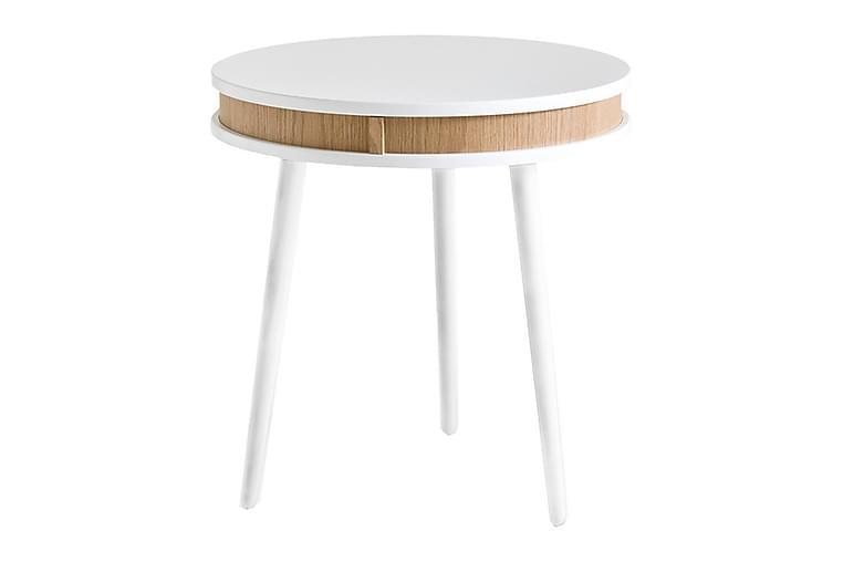 Lamppupöytä Hugo 50 cm Pyöreä - Valkoinen/Tammi - Huonekalut - Pöydät - Sohvapöydät