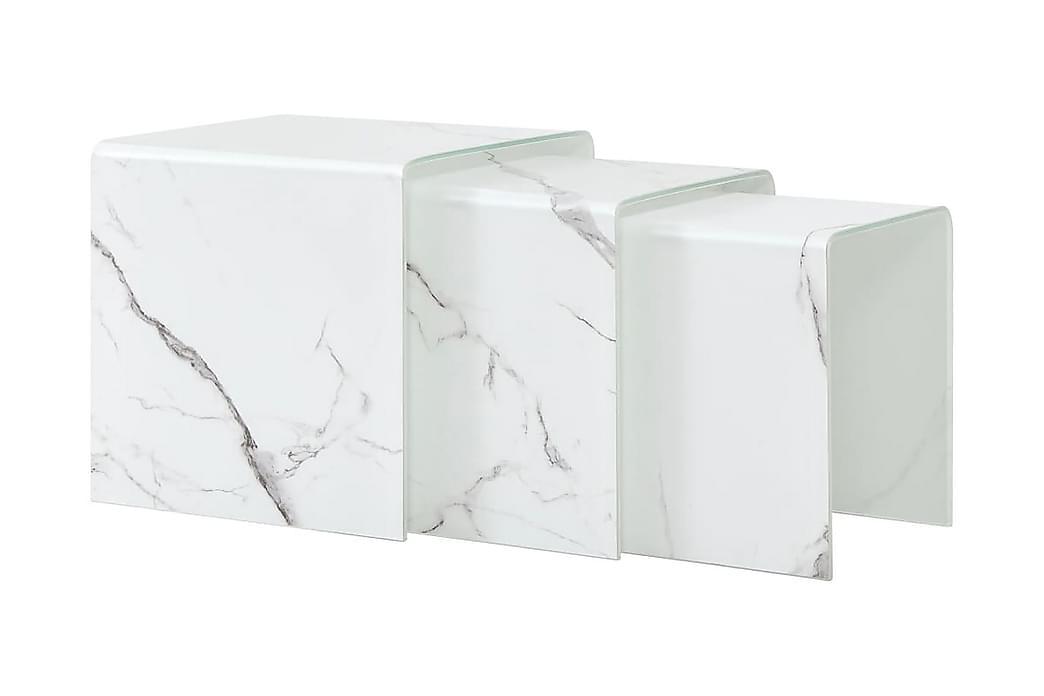 Sohva-/sarjapöydät 3kpl valkoinen 42x42x41,5cm - Valkoinen - Huonekalut - Pöydät - Sohvapöydät