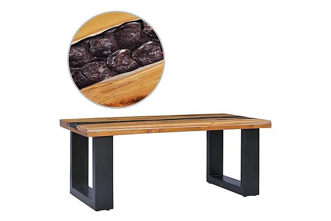 Sohvapöytä 100x50x40 cm täysi tiikki ja polyesterihartsi - Monivärinen - Huonekalut - Pöydät - Sohvapöydät