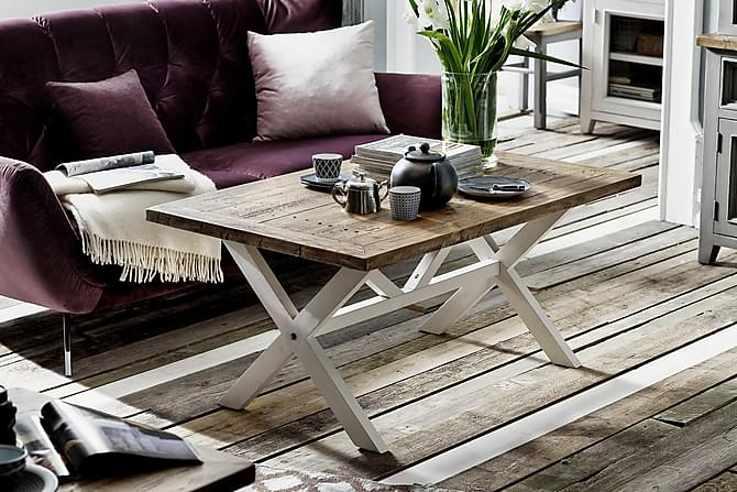 Sohvapöytä Bay 120 cm - Valkoinen/ Vintage Ruskea - Huonekalut - Pöydät - Sohvapöydät