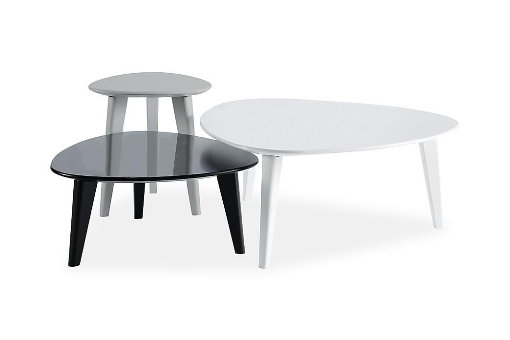 Sohvapöytä Ebella 80 cm 3:n setti Ovaali - Harmaa/Valkoinen/Musta - Huonekalut - Pöydät - Sohvapöydät