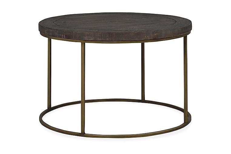Sohvapöytä Fevik 80 cm Pyöreä - Ruskea/Harmaa/Kulta - Huonekalut - Pöydät - Sohvapöydät