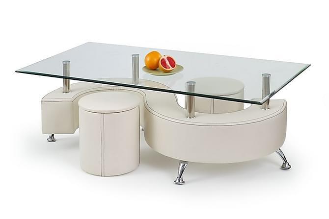 Sohvapöytä Giardina raheilla 140x70 cm Lasi - Valkoinen - Huonekalut - Pöydät - Sohvapöydät