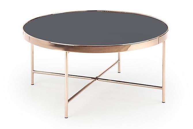 Sohvapöytä Hollier 82 cm Pyöreä Lasi - Musta/Kupari - Huonekalut - Pöydät - Sohvapöydät