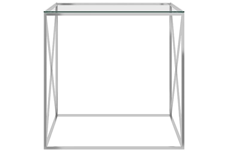 Sohvapöytä hopea 55x55x55 cm ruostumaton teräs ja lasi - Hopea - Huonekalut - Pöydät - Sohvapöydät