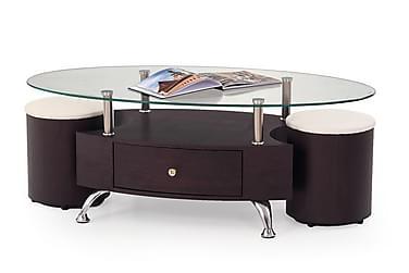 Sohvapöytä Mascorro raheilla 120x65 cm Lasi