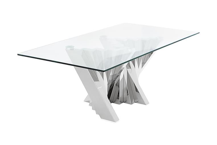 Sohvapöytä Mujtaba 130 cm - Ruostumaton/Lasi/Läpinäkyvä - Huonekalut - Pöydät - Sohvapöydät