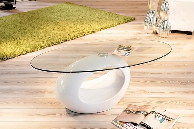 Sohvapöytä Shia 60 cm Ovaali - Lasi/Valkoinen - Huonekalut - Pöydät - Sohvapöydät