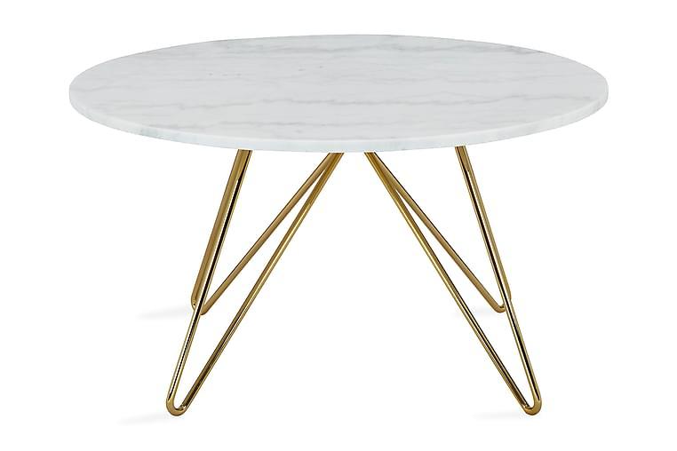 Sohvapöytä Sisko 80 cm Pyöreä Marmori - Valkoinen/Messinki - Huonekalut - Pöydät - Sohvapöydät
