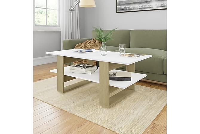 Sohvapöytä valkoinen ja Sonoma-tammi 110x55x42 cm lastulevy - Monivärinen - Huonekalut - Pöydät - Sohvapöydät