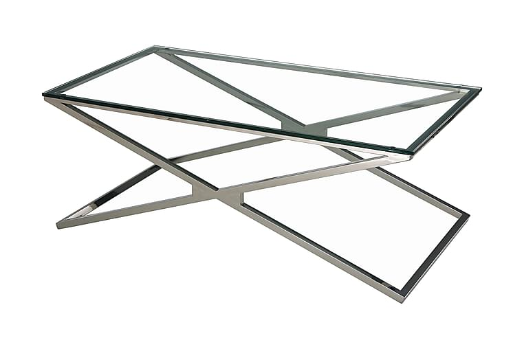 Sohvapöytä Vittoria 130 cm Hopea/Kirkas lasi - AG Home - Huonekalut - Pöydät - Sohvapöydät
