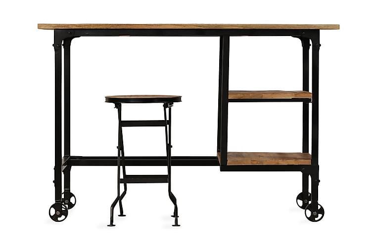 Kirjoituspöytä ja taitettava jakkara mangopuu 115x50x76 cm - Ruskea - Huonekalut - Pöydät - Kirjoituspöydät