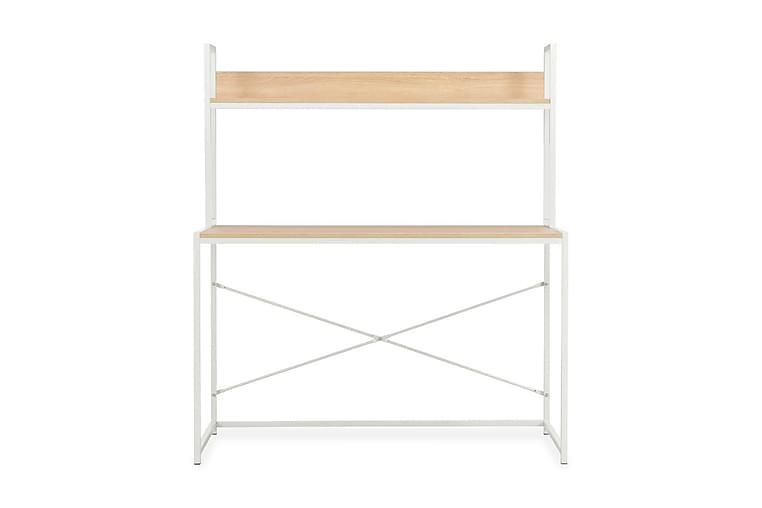 Tietokonepöytä 120x60x138 cm valkoinen ja tammi - Valkoinen - Huonekalut - Pöydät - Kirjoituspöydät