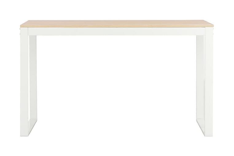 Tietokonepöytä 120x60x73 cm valkoinen ja tammi - Valkoinen - Huonekalut - Pöydät - Kirjoituspöydät