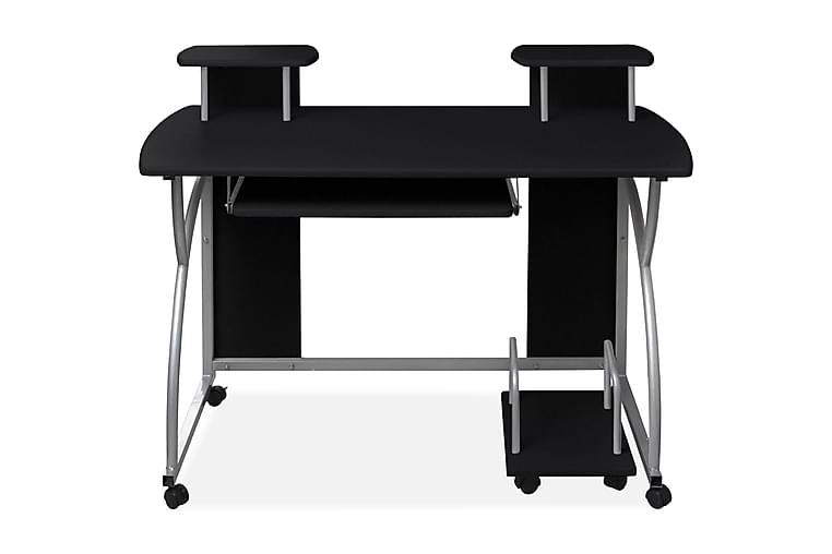 Tietokonepöytä ulosvedettävällä näppäimistötasolla musta - Musta - Huonekalut - Pöydät - Kirjoituspöydät