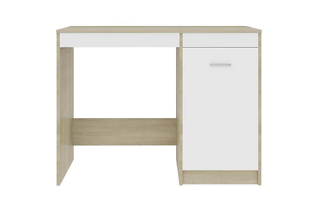 Työpöytä valkoinen ja Sonoma-tammi 100x50x76 cm lastulevy - Beige - Huonekalut - Pöydät - Kirjoituspöydät