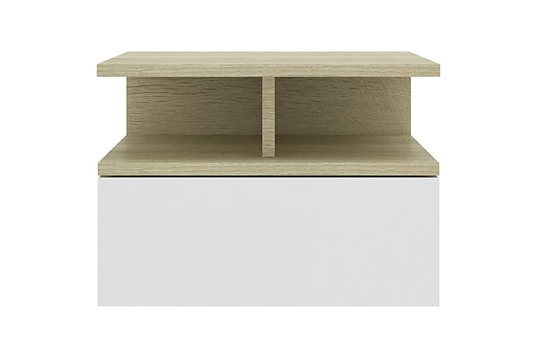 Kelluva yöpöytä valkoinen & Sonoma-tammi 40x31x27cm - Monivärinen - Huonekalut - Pöydät - Yöpöydät