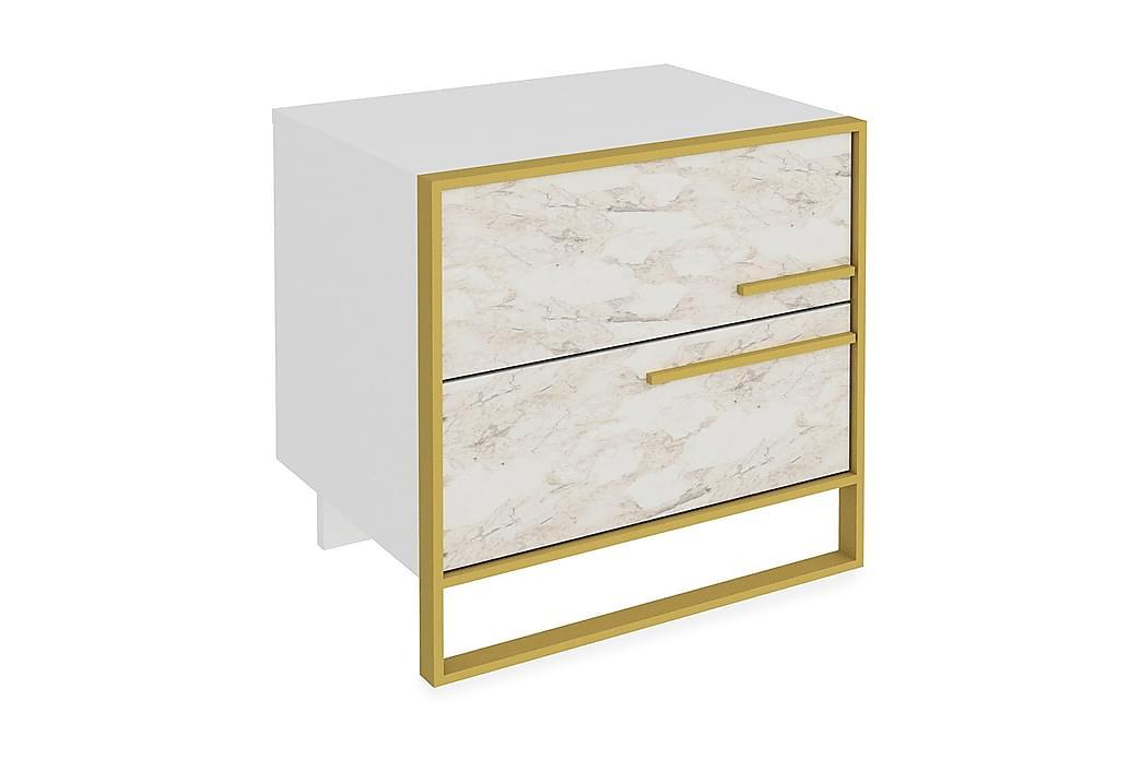 Yöpöytä Chrostopher 50 cm - Kulta/Valkoinen - Huonekalut - Pöydät - Yöpöydät