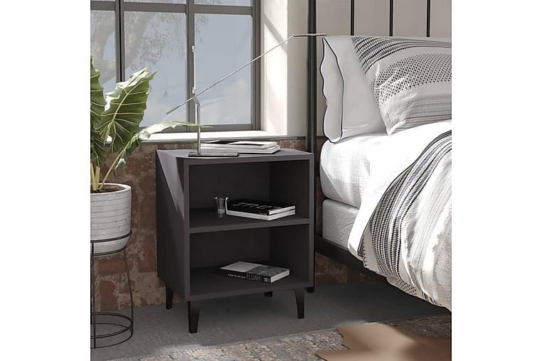 Yöpöytä metallijaloilla harmaa 40x30x50 cm - Harmaa - Huonekalut - Pöydät - Yöpöydät