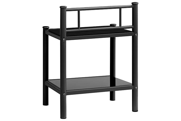 Yöpöytä musta 45x34,5x60,5 cm metalli ja lasi - Huonekalut - Pöydät - Yöpöydät