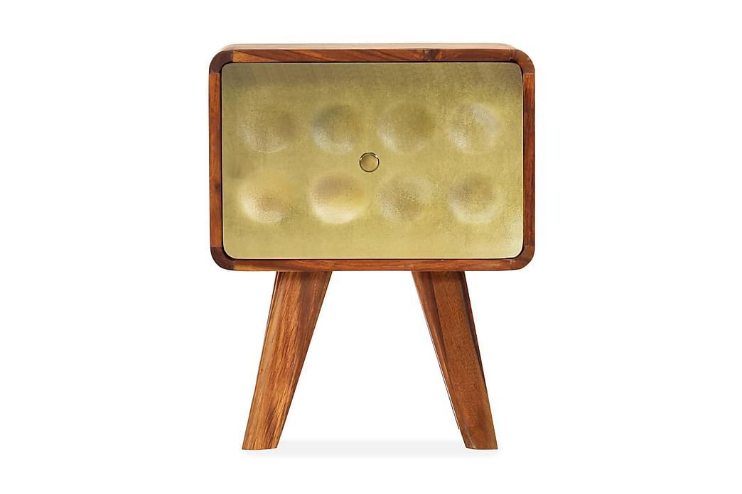 Yöpöytä täysi seesampuu kultaisella kuviolla 49x40x30 cm - Ruskea - Huonekalut - Pöydät - Yöpöydät