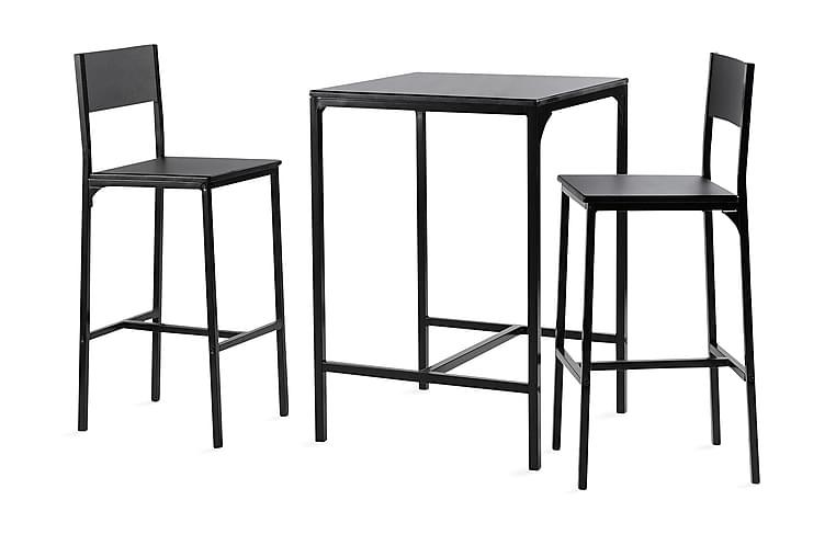 Baaripöytä Marlon 60 cm 2 baarituolilla - Musta - Huonekalut - Ruokailuryhmät - Kulmikas ruokailuryhmä